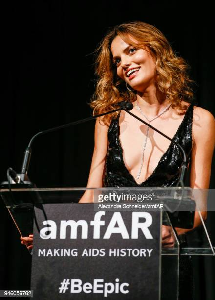 Barbara Fialho speaks onstage during the 2018 amfAR gala Sao Paulo at the home of Dinho Diniz on April 13 2018 in Sao Paulo Brazil