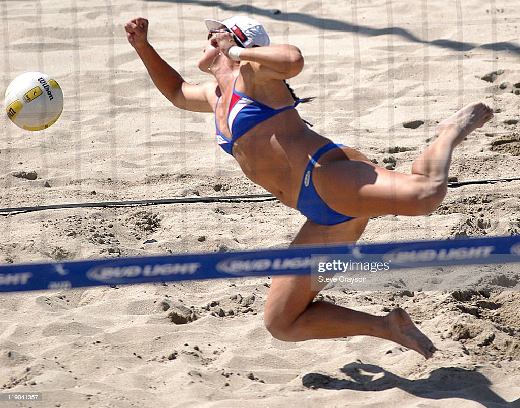Barbara Fontana dives and misses a dig in the women's final of the 2004 AVP Nissan Series Hungting Beach Open at the Huntington Beach Pier, May 30, 2004.