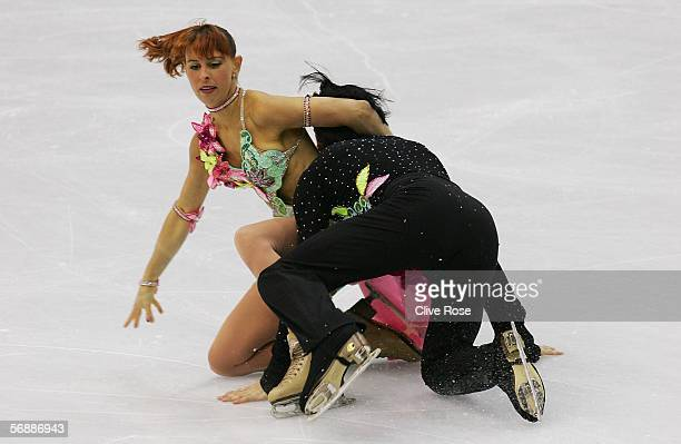 Barbara Fusar Poli and Maurizio Margaglio of Italy fall to the ice during performance in the Original Dance program of the figure skating during Day...