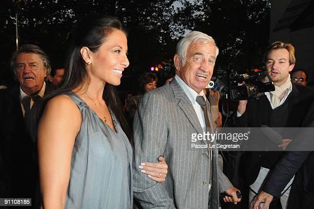Barbara Gandolfi and actor JeanPaul Belmondo arrive at the screening of director Jeanluc Godard's film 'Pierrot le Fou' at Cinematheque Francaise on...