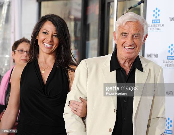 "Barbara Gandolfi and actor Jean-Paul Belmondo arrive at the TCM Classic Film Festival's ""A Star Is Born"" held at Mann's Chinese Theater on April 22,..."
