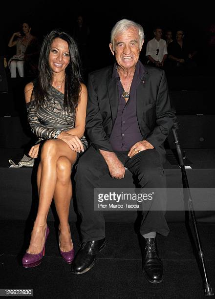 Barbara Gandolfi and Jean Paul Belmondo attend the Roberto Cavalli Spring/Summer 2012 fashion show as part Milan Womenswear Fashion Week on September...