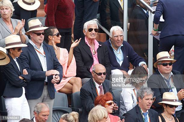 Barbara Gandolfi Jean Paul Belmondo and Charles Gerard attend the French Open at Roland Garros on June 5 2011 in Paris France