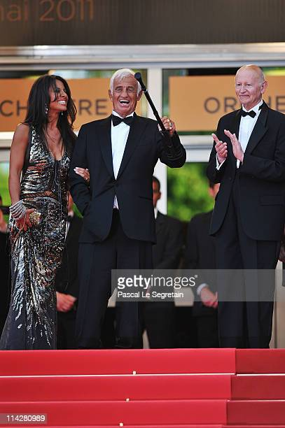 Barbara Gandolfi JeanPaul Belmondo and Gilles Jacob attend The Beaver premiere at the Palais des Festivals during the 64th Cannes Film Festival on...
