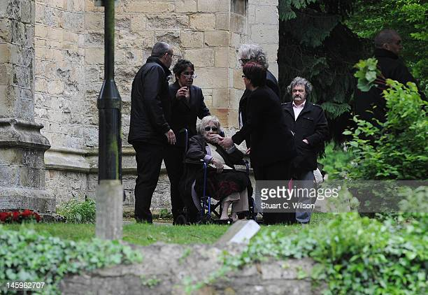 Barbara Gibb attends the funeral of Robin Gibb in Priest End, Thame on June 8, 2012 in Oxford, England.