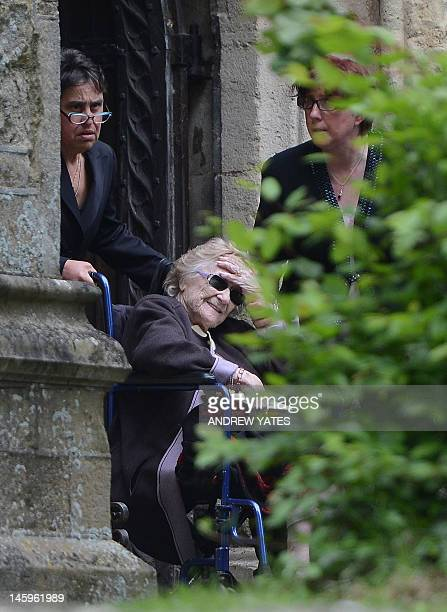 Barbara Gibb, mother of Bee Gee Robin Gibb, leaves St Mary's Church in Thame, central England, on June 8 after a funeral service for Robin. A...