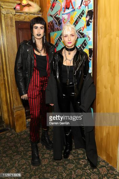 Barbara Grispini and Eva Al Desnudo attend the adidas Originals Meets Fiorucci launch party in partnership with Dazed at The Box Soho on February 14...