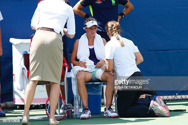 Barbara Haas of Austria receives medical assistence while she plays againts to Timea Babos of Hungary during their 2016 US Open Women's Singles match...