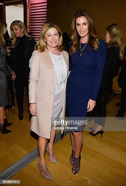 Barbara Hackett and Cindy Crawford attend Saks Fifth Avenue private cocktail and Q A with Cindy Crawford And Fern Mallis In Toronto at AGO on...