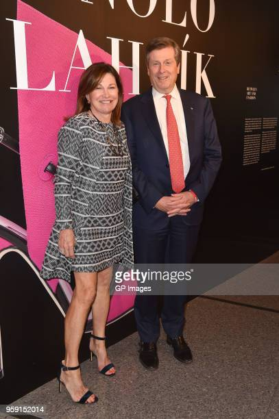 Barbara Hackett and Toronto Mayor John Tory attend the gala reception for Manolo Blahnik The Art Of Shoes at Bata Shoe Museum on May 15 2018 in...