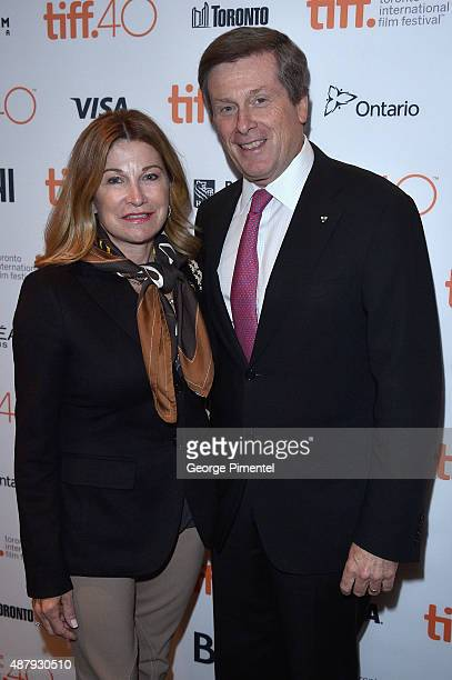 Barbara Hackett and Toronto Mayor John Tory attend the Remember premiere during the 2015 Toronto International Film Festival at Roy Thomson Hall on...