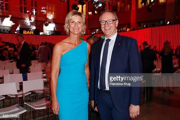Barbara Hahlweg and Georg Fahrenschon attend the Deutscher Gruenderpreis on July 5, 2016 in Berlin, Germany.