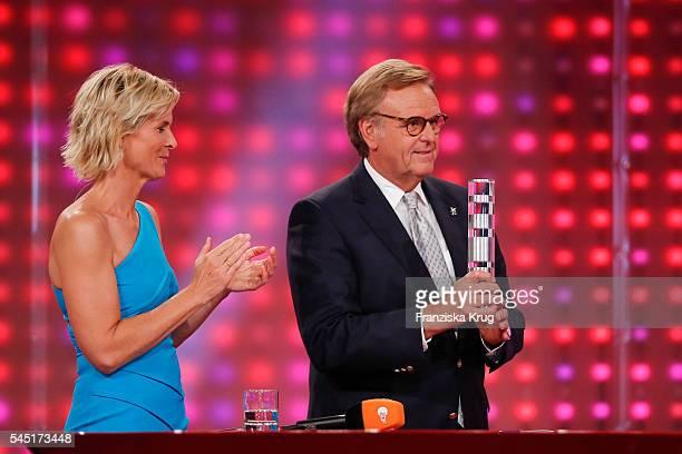 Barbara Hahlweg and Roland Mack attend the Deutscher Gruenderpreis on July 5, 2016 in Berlin, Germany.