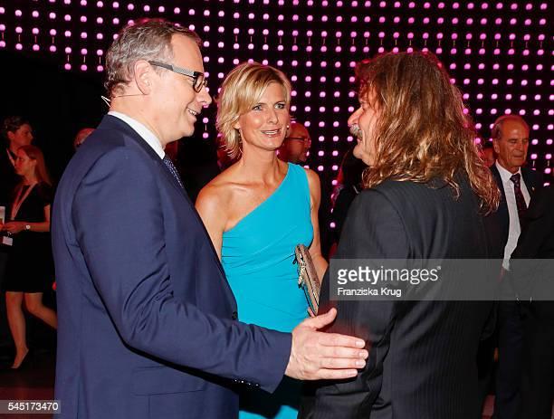 Barbara Hahlweg, Georg Fahrenschon and Leslie Mandoki attend the Deutscher Gruenderpreis on July 5, 2016 in Berlin, Germany.