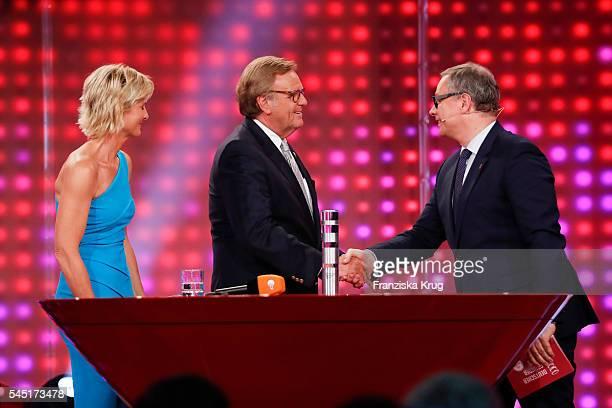Barbara Hahlweg, Roland Mack and Georg Fahrenschon attend the Deutscher Gruenderpreis on July 5, 2016 in Berlin, Germany.