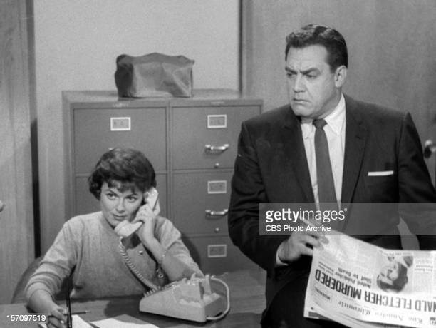 Barbara Hale as Della Street and Raymond Burr as Perry Mason in the PERRY MASON episode 'The Case of the Envious Editor' Original air date January 7...