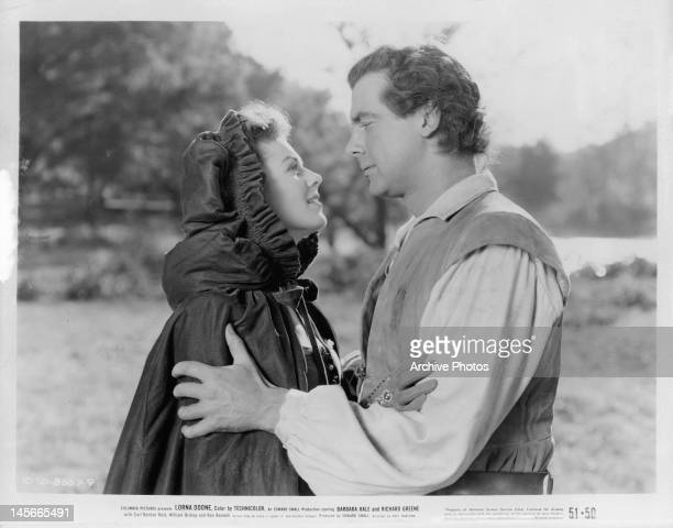 Barbara Hale looks into the eyes of Richard Greene in a scene from the film 'Lorna Doone' 1951