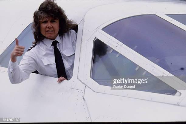 Barbara Harmer seen through the Concorde window