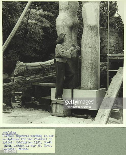 Barbara Hepworth working on Fesitival of Britain Sculpture at her St Ives Cornwall studio