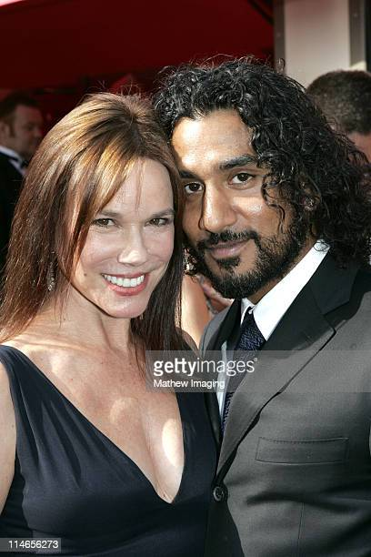 Barbara Hershey and Naveen Andrews during 57th Annual Primetime Emmy Awards Red Carpet at The Shrine in Los Angeles California United States