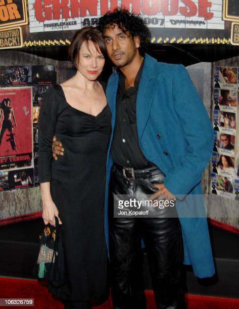 Barbara Hershey and Naveen Andrews during Grindhouse Los Angeles Premiere Arrivals at Orpheum Theatre in Los Angeles California United States