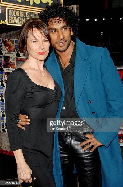 Barbara Hershey and Naveen Andrews during 'Grindhouse' Los Angeles Premiere Arrivals at Orpheum Theatre in Los Angeles California United States
