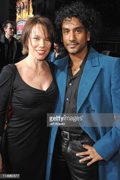 Barbara Hershey and Naveen Andrews during Grindhouse Los Angeles Premiere Red Carpet at Orpheum Theatre in Los Angeles California United States