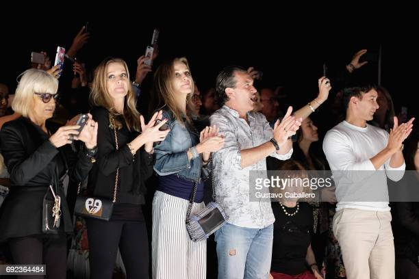 Barbara Hulanicki Barabara Kimpel Nicole Kimpel Antonio Banderas and Designer Rene Ruiz are seen front row at the Angel Sanchez Show during Miami...