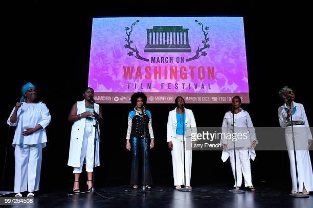 Barbara Hunt Christie Dashiell Aisha Khalil Louise Robinson Nitanju B Casel and Carol Maillard of Sweet Honey In The Rock performs during A Tribute...