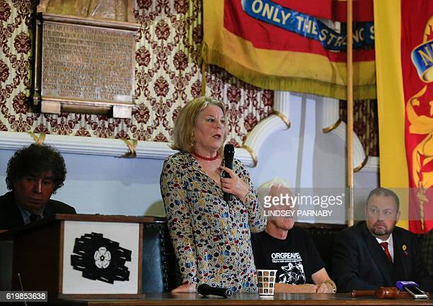 Barbara Jackson founder of the Orgreave Truth and Justice Campaign speaks during a media conference at the National Union of Mine Workers in Barnsley...