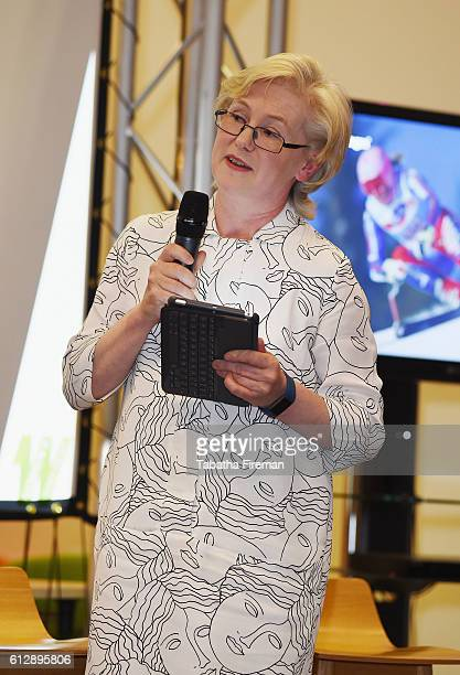 Barbara Jane Slater OBE speaks at the Women's Sport Week Changing The Visual Landscape Of Women's Sport discussion at BBC Broadcasting House on...