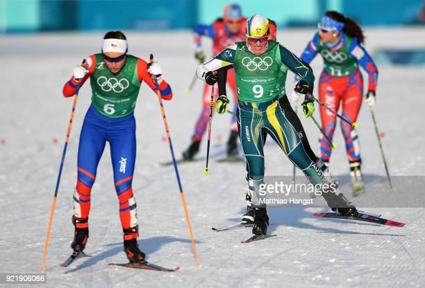 Barbara Jezersek of Australia and Petra Novakova of Czech Republic compte during the Cross Country Ladies' Team Sprint Free semi final on day 12 of...