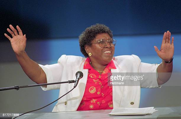 Barbara Jordan gives the final keynote speech of the evening as the first day of the Democratic National Convention wraps up 7/13.
