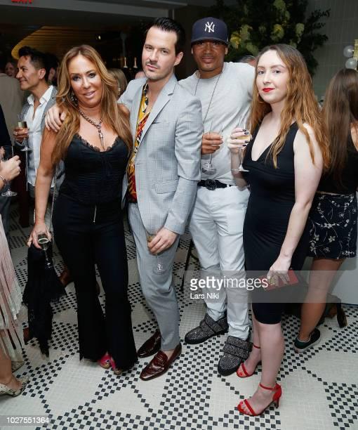Barbara Kavovit, Evan Hungate and Moktara attend the Bluebird London New York City launch party at Bluebird London on September 5, 2018 in New York...