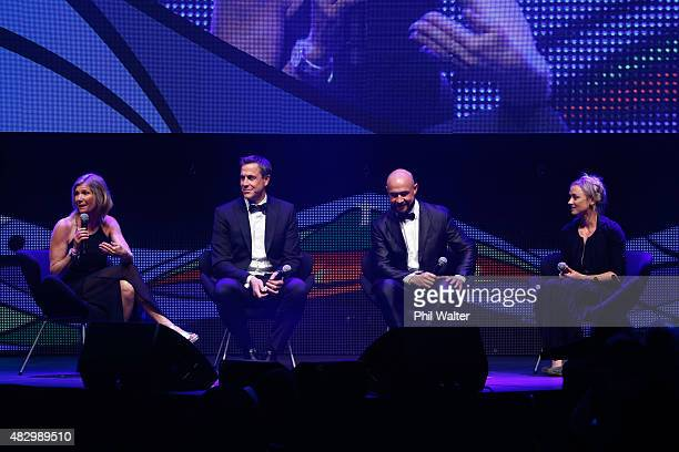 Barbara Kendall Rob Waddell DJ Forbes and Anita Punt speak at the NZ Olympic Gala Dinner celebrating one year to go untill the 2016 Summer Olympics...