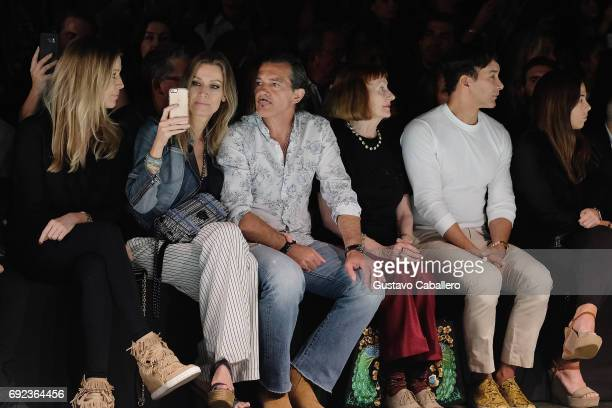 Barbara Kimpel Nicole Kimpel Antonio Banderas and Designer Rene Ruiz are seen front row at the Angel Sanchez Show during Miami Fashion Week at Ice...