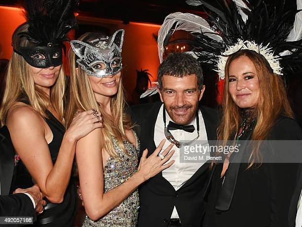 Barbara Kimpel Nicole Kimpel Antonio Banderas and Eva Cavalli attend Eva Cavalli's birthday dinner party at One Mayfair on October 9 2015 in London...