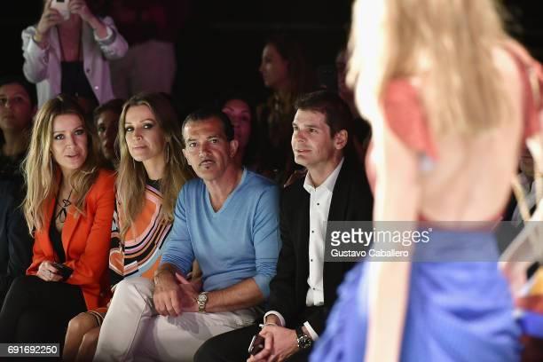 Barbara Kimpel Nicole Kimpel Antonio Banderas and Julio Iranzo are seen front row at the Shantall Lacayo Show during Miami Fashion Week at Ice Palace...