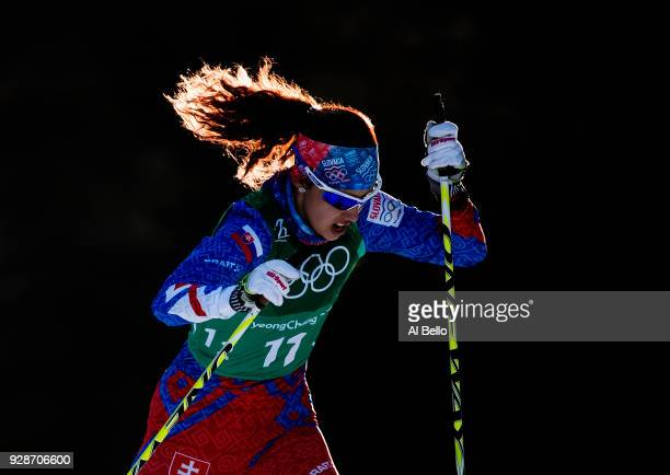Barbara Klementova of Slovakia competes during the Cross Country Ladies' Team Sprint Free semi final on day 12 of the PyeongChang 2018 Winter Olympic...