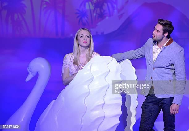 Barbara Kurdej-Szatan and Daniel Chodyna during the rehearsal of 'Legally Blonde' musical directed by Janusz J��zefowicz. Krakow, Theatre Variete,...