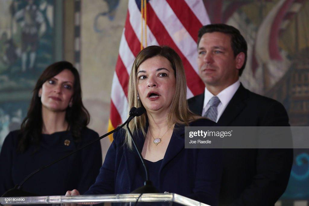 Newly Sworn-In Florida Governor Ron DeSantis Makes Announcement Regarding Florida Supreme Court In Miami : News Photo