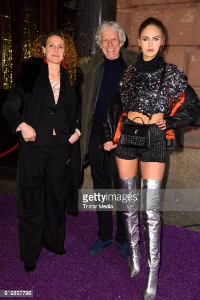 Barbara Lanz Mathieu Carriere and his daughter Elena Carriere attend the PLACE TO B Party on February 17 2018 in Berlin Germany