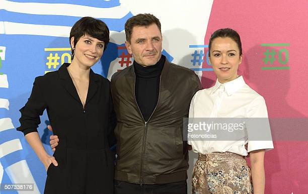 Barbara Lennie Alex Brendemuhl and Veronica Sanchez attend the Movistar New Channel presentation at Telefonica Flagship Store on January 28 2016 in...
