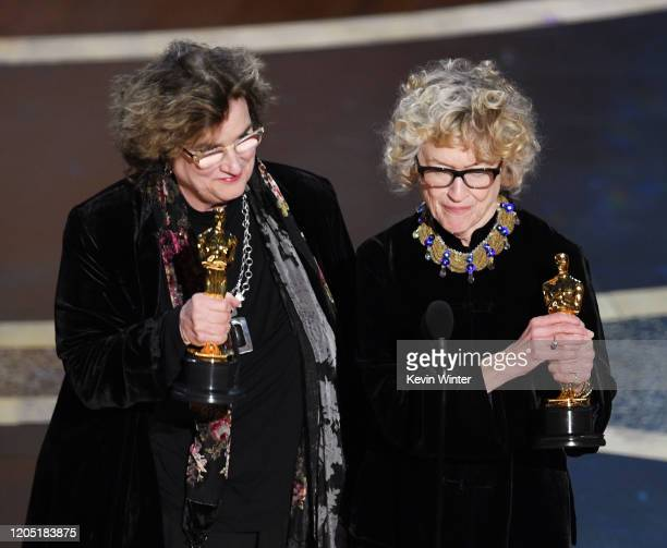 Barbara Ling and Nancy Haigh accept the Production Design award for 'Once Upon a Time...in Hollywood' onstage during the 92nd Annual Academy Awards...