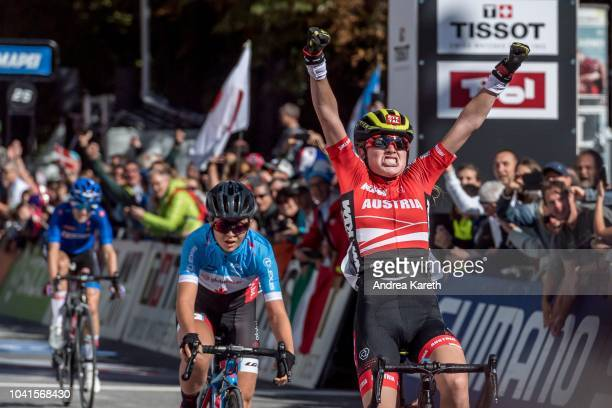 Barbara Malcotti of Italy Simone Boilard of Canada and winner Laura Stigger of Austria on the finish line during the Women Junior Road Race of UCI...
