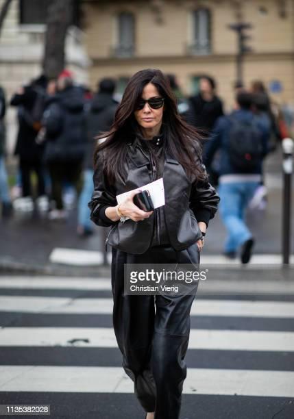 Barbara Martello is seen wearing black leather jacket and pants outside Miu Miu during Paris Fashion Week Womenswear Fall/Winter 2019/2020 on March...