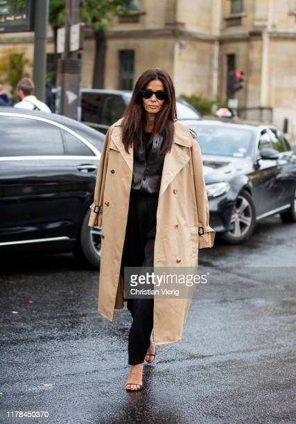Barbara Martelo seen wearing beige trench coat outside Miu Miu during Paris Fashion Week Womenswear Spring Summer 2020 on October 01, 2019 in Paris,...
