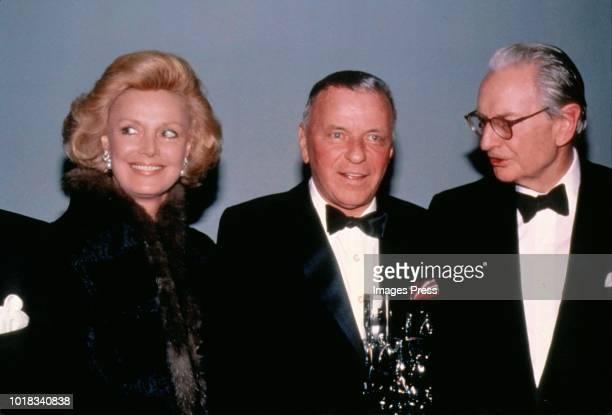 Barbara Marx Sinatra, Frank Sinatra and Lawrence Rockefeller circa 1998 in New York.