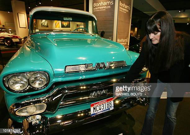 Barbara McQueen Brunsvold widow of US movie star Steve McQueen shows a 1958 GMC Pickup truck 06 November 2006 in Los Angeles An auction of Steve...