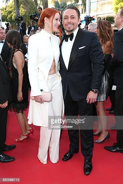 Barbara Meier and her boyfriend Klemens Hallmann attend the 'Julieta' premiere during the 69th annual Cannes Film Festival at the Palais des...